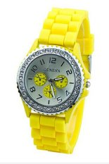 Women's Crystals Rubber Silicone Gel Jelly Strap Watch 60BL003 (Yellow)