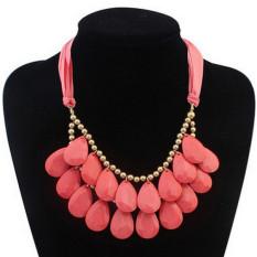 Womens Elegant Waterdrop Beads Ribbon Multilayer Necklaces LB215 Pink