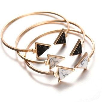 Women's Fashion Marbling Adjustable Bracelet Triangular Shape Turquoise Bracelet (Gold) - Intl