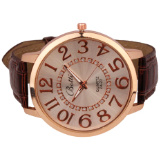 Womens Fashion Numerals Golden Dial Leather Analog Quartz Watch Brown (Intl)