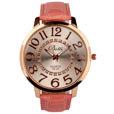 Womens Fashion Numerals Golden Dial Leather Analog Quartz Watch Pink (Intl)