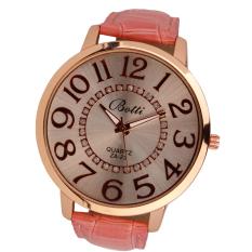 Womens Fashion Numerals Golden Dial Leather Analog Quartz Watch (Pink)