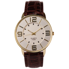 Womens Ladies Fashion Numerals Gold Dial Leather Analog Quartz Watch (Brown)