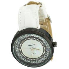 Women's Luxury Zircon Bezel Leather Strap Round Dial Analog Watches (White & Black)