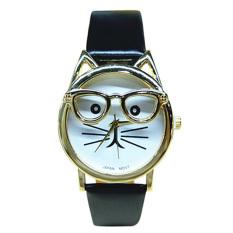 Womens Mens Glasses Cat Faux Leather Analog Quartz Watch Black