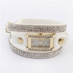 Generic Women's Vintage Square Dial Rhinestone Weave Wrap Leather Bracelet Watch