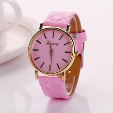 Womens Watches Grid Unisex Leather Quartz Dress WristWatch Pink (Intl)