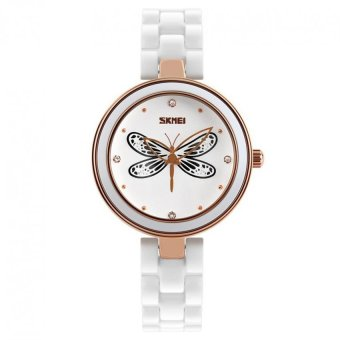 Women's White Ceramic Band Waterproof Watch Dragonfly Black