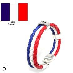 World Cup FIFA Soccer Fans National Flag Color Mens Womens Leather Bracelet France - Intl