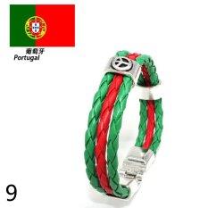 World Cup FIFA Soccer Fans National Flag Color Mens Womens Leather Bracelet Portugal - Intl