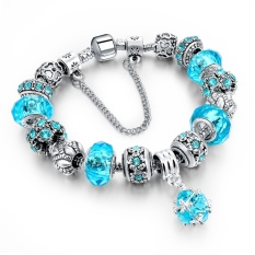 WOW-27.20CM Blue Love Crystal Charm Bracelets Bangles For Women With Murano Beads Famous Brand 925 Silver Sapphire Jewelry (Blue)