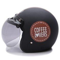 WTO Helmet Retro Bogo - Coffee Lovers - Hitam Cokelat Doff