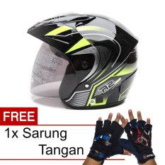WTO Helmet Z1R PET - R2 Rider - Hitam Hijau + Promo Gratis Sarung Tangan