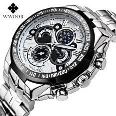 WWOOR 3040 m pria jam tangan bercahaya olahraga santai menonton Stainless Steel jam kuarsa, putih - International