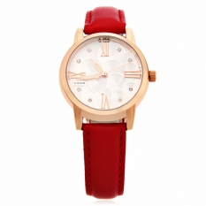 WWOOR 8803 Female Quartz Watch Luminous Pointer 30M Water Resistance Genuine Leather Band Wristwatch (Red)