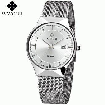 WWOOR Fashion Brand Watches Men's Waterproof Date Ultra Thin Clock Luxury Steel Band Casual Quartz Watch Men Sports Watch Male relogio - intl