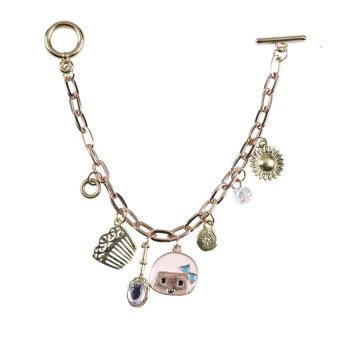 Yazilind Cute Women Gold Plated Doll Rhinestone Bracelet