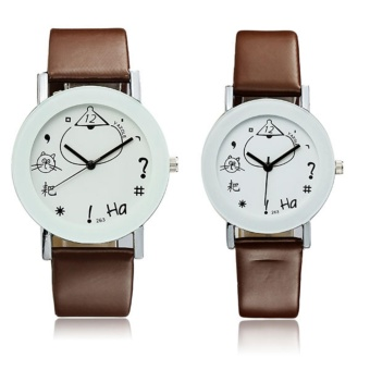 YAZOLE 263 Concise Fashion PU Leather Band Analog Quartz Couples Watch Brown -Intl
