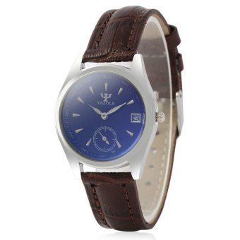 Yazole 306 Women Analog Quartz Watch Date Display Separate Second Dial ( Brown)