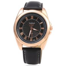 YAZOLE 336 Men Quartz Watch Luminous Pointer Roman Numerals Display Leather Band Wristwatch (Black) - Intl