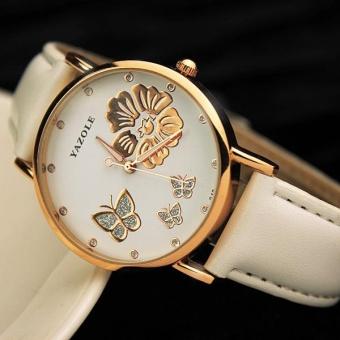 Yazole 343 Women 's Fashion New Exquisite Rhinestone Belt FashionTable Quartz Watch White and White