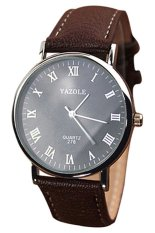 Yazole Brown Faux Leather Wrist Watch (Brown)