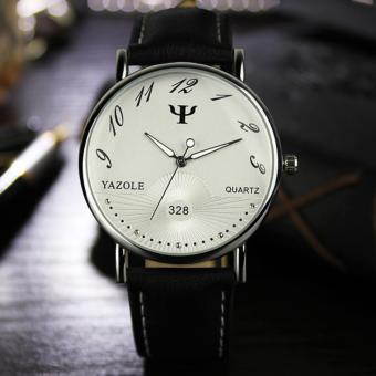 YAZOLE Classical Women Leather Band Fashion Joker Bussiness Quartz Wrist Watch YZL328-Black - intl