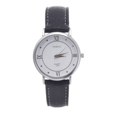 Yika High-end Business Men's Women Casual Classic Roman Numerals Watches (White + Black) (Intl)