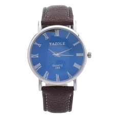 Yazole Men's Stainless Steel Leather Quartz Wrist Watch (Brown) - Intl