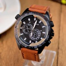 YAZOLE Vintage Men Leather Band Fashion Stainless Steel Sport Military Quartz Wrist Watch YZL334H-Brown - intl