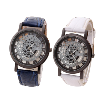 YBC 1 Pair Fashion Non Mechanical Hollow Couple Watch With Imitation Leather Band Strap Brown