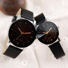 YBC Fashion 1 Pair Couple Wrist Watch PU Leather Round Dial Watchband