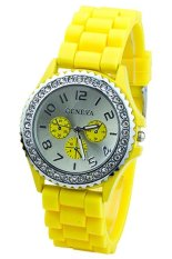 Yellow Crystals Rubber Silicone Gel Jelly Strap Watch