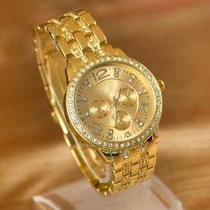 Yidabo Fashion Luxury Gold Crystal Quartz Rhinestone Date Lady Women Wrist Watch (Gold)