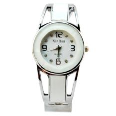 Yika Fashion Women's Alloy Band Quartz Analog Round Dress Bracelet Wrist Watch Gift (White) (Intl)