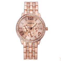 Yika Geneva Gril Women Casual Fashion Diamond Stainless Steel Quartz Wrist Watch (Rose Gold)