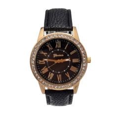 Yika Ladies Women Girl Geneva Leatherwear Quartz Golden Crystal Stone Rome Wrist Watch (Black) (Intl)