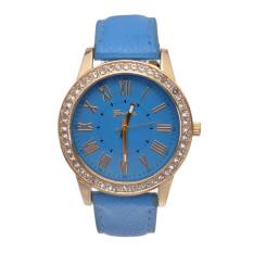 Yika Ladies Women Girl Geneva Leatherwear Quartz Golden Crystal Stone Rome Wrist Watch (Light Blue) (Intl)