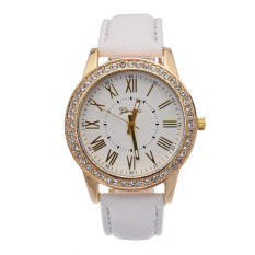 Yika Ladies Women Girl Geneva Leatherwear Quartz Golden Crystal Stone Rome Wrist Watch (White) (Intl)