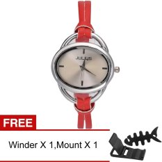 Yika Fashion Women Dress Leather Strap Roman Numerals Quartz Watches (Red) (Intl)