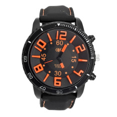 Yika Men's 3D Word Stainless Steel Wrist Watch (Orange)