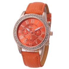 Yika Rhinestone Geneva Roman Numerals Dial Analog Quartz Wrist Watch (Orange)