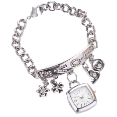 Yika Romantic Love Heart Style Rhinestone Stainless Steel Women Watches (Silver) (Intl)