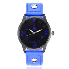 Yika Unisex Faux Leather Round Steel Case Quartz Analog Wrist Watch (Blue)