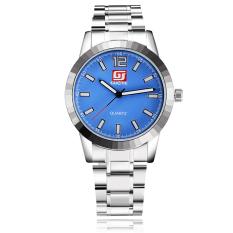 Yika Unisex Round Steel Case Faux Leather Quartz Analog Wrist Watch (Blue)