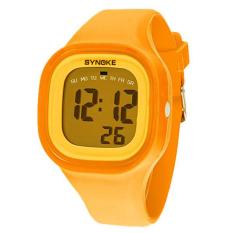 Yika Waterproof Women Men LED Digital Sports Watches Silicone Sport Quartz Wrist Watches (Yellow) (Intl)