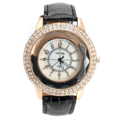 Yika Women Crystal Leather Quartz Wrist Watch (Black)