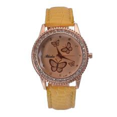 Yika Women Lady Golden Band Butterfly Bracelet Watches Quartz Rhinestone Wrist Watch (Yellow)