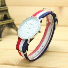 Yika Women Men Geneva Fabric Nylon Canvas Band Military Dial Quartz Wrist Watch (Multicolor) (Intl)