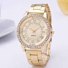 Yika Women Resin Rhinestone Stainless Steel Quartz Wrist Watch (Gold)